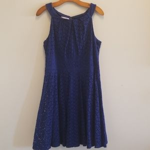 London Times eyelet fit and flare dress w/lining